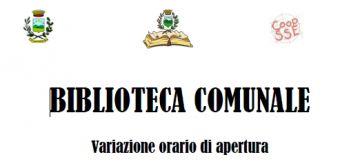 BIBLIOTECA COMUNALE - NUOVO ORARIO DI APERTURA